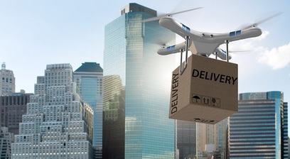 Drone delivery robot consegna