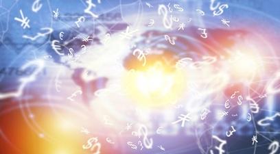 Tecnologia fintech innovazione numeri monete finanza mappa planetario